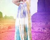 BIG ASS SALE vintage 70s tie dyed Indian midi tent dress / crinkle cotton gauze / deep arm holes / boho hippie festival gypsy