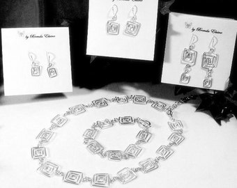 Handcrafted Greek Key Matching Set-Necklace, Bracelet and Earrings