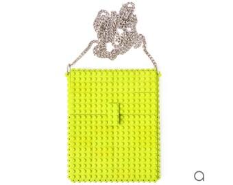 Lime hip clutch on a chain made entirely with LEGO® bricks FREE SHIPPING crossbody purse handbag lego gift