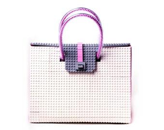 The Brick Bag in white, grey & pink - 32cm size FREE SHIPPING original LEGO® bricks lego gift handbag trending fashion
