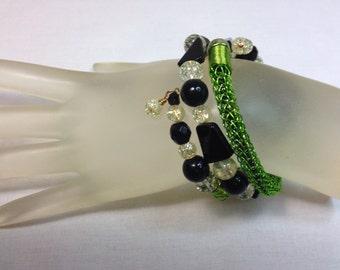 Black and Lime Green Viking Knit Bracelet, Wrap Bracelet, Wraps around Wrist Three Times, Fits all Wrist Sizes, One of a Kind