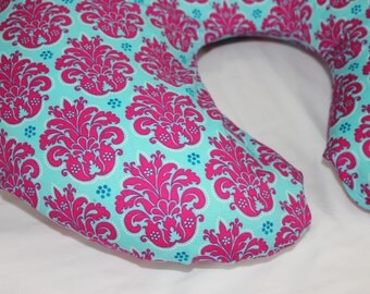 Turquoise and Hot Pink Damask Boppy Cover