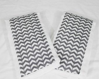 Dark Grey Chevron Burp Cloths - Set of 2