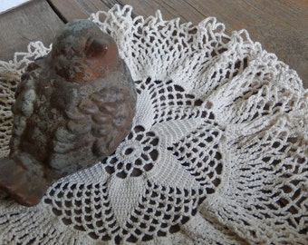 Vintage Crochet Doily Handmade Romantic Cottage Chic Home and Kitchen Dining Decor