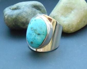 Kingman Turquoise ring, size 8 ring, statement ring, sterling silver, sterling turquoise,  silver ring, boho ring, genuine turquoise ring