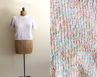vintage sweater 80's pastel short sleeve knit top 1980s kawaii size m medium