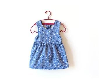 vintage dress girl's 80's denim blue floral print bows childrens clothing 1980s size 3 3t