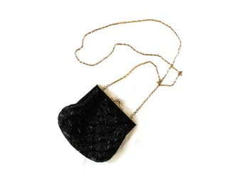 vintage purse 80's beaded black coin bag chain link formal 1980's small accessories