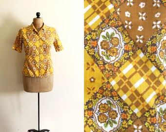 vintage blouse 70s mustard yellow quilt print shirt folk womens clothing retro 1970s size small s