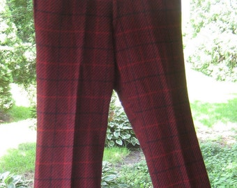 Hipster Wool Retro Red n Blue Pants 1960s 1970s