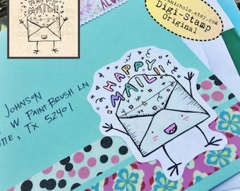 Happy Mail Digital Stamp - Digistamp Original - Happy Mail Envelope - Stamp - Printable Sticker - Clip Art - Printables