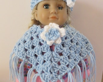 American Girl 18 Inch Doll Light Blue Poncho and headband set-Girl Birthday Gift Idea