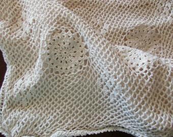 cream crocheted PILLOW SHAM - standard, ecru, beige, cotton