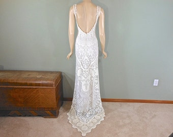VINTAGE Wedding Dress BOHEMIAN Wedding Dress HIPPIE BoHo Lace Wedding Dress Backless Wedding Dress Crochet Wedding Dress Sz Small