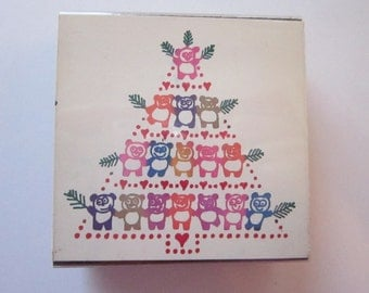 vintage rubber stamp - PANDA bear Christmas tree - circa 1985 - A Stamp In the Hand - htf vintage stamp