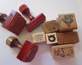 9 vintage rubber stamps - PIGS - piglet, pig stamps - pig rubber stamps - hog wash, hogs and kisses, piggy bank