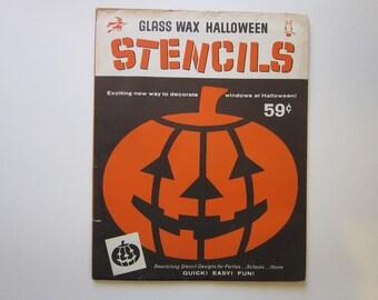 vintage HALLOWEEN stencils - Glass Wax Halloween Stencils - 17 designs - Gold Seal Co - NOS, old stock