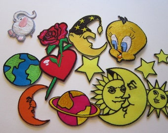 12 embroidered patches - appliques - stars, moon, celestial, rose, and more