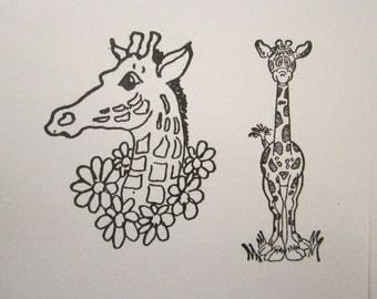 2 rubber stamps - GIRAFFES - giraffe stamps - used stamps