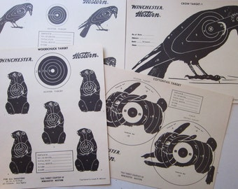 4 vintage WINCHESTER paper targets - crow, cottontail rabbit, jack rabbit, and woodchuck - Winchester Western