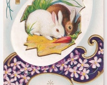 Welcome Easter Morning - Antique Postcard - Easter, Easter Postcards, Rabbits, Bunnies, Violets, Crosses, Religious, Paper, Ephemera