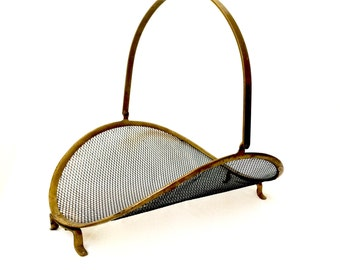Vintage Brass and Mesh Fireplace Log Holder / Fireplace Decor / Made in India