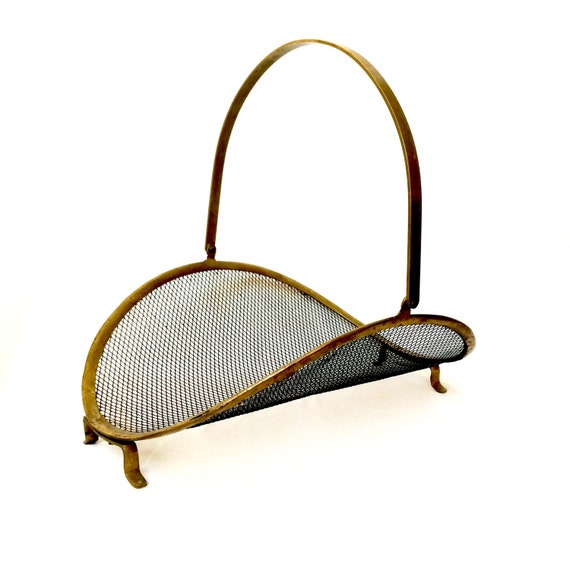 Vintage Brass And Mesh Fireplace Log Holder Fireplace Decor