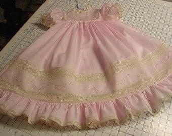 Heirloom dress size 2 pink/ecru hand embroidery portrait Birthday Holiday wedding flower girl