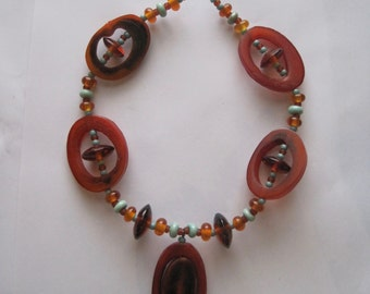 BUFFALO HORN & Glass Bead Set- 27 Handmade Lampwork Glass Beads