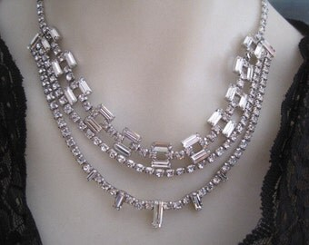 Vintage Weiss Rhinestone Necklace Three Strands Bride Bridal Wedding