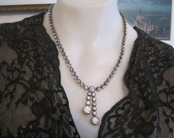 Vintage Rhinestone Brass Double Drop Rhinestone Necklace