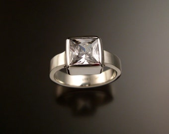 White Cubic Zirconia ring Sterling Silver Large Square stone Diamond substitute statement ring made to order in your size