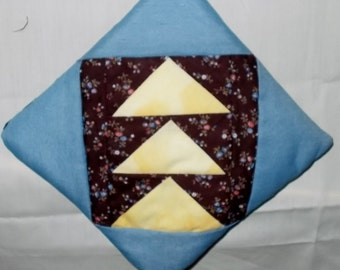 POTHOLDER (36 ) Blue Yellow Brown Fabric, Flying Geese Traditional Quilt Design, Made in N GA, Patchwork Lover, Quilt Collector, Gift,
