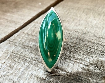 Unique Marquise Rich Emerald Green Malachite Statement Ring in Sterling Silver
