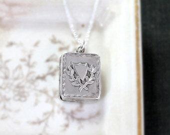 Antique Sterling Silver Locket Necklace, Birmingham Hallmarked 1927 Tiny Book Photo Pendant - Escutcheon