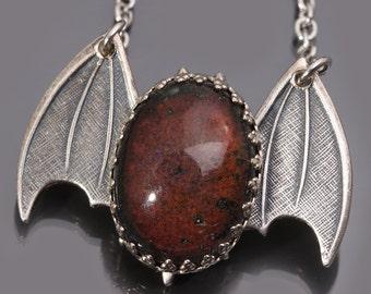 Bat Necklace Mood Necklace Mood Stone Halloween Bats