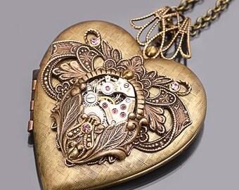 Steampunk Heart Locket Steampunk Heart Necklace Picture Locket Steampunk Wedding