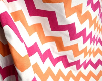 Pink Orange Chevron Zig Zag Upholstery Fabric