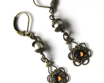 Vintage Antiqued Brass Earrings with Smokey Topaz Swarovski Crystals and Pearls