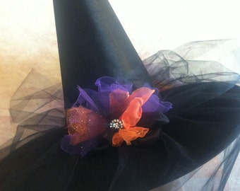 Tri Color Tutu Style Witch Hat