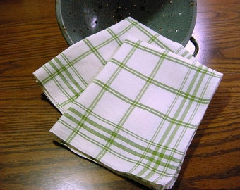 Vintage Green Plaid Kitchen Dish Hand Towel - NOS Unused - 2 available