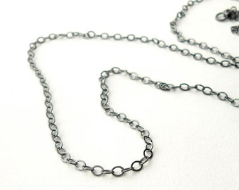 Oxidized Sterling Silver Finished Necklace Chain, Flat Cable Chain 2.5mm, Choose Length