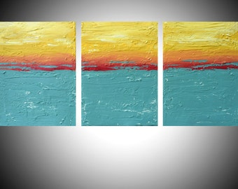 """original triptych 3 panel gift in acrylic wall abstract art """"Turquoise flats"""" hand paintings on canvas original artwork for home 27 x 12"""""""