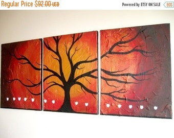 """Original painting wall art tree of life abstract triptych landscape large impasto contemporary paintings on canvas 36 x 12"""""""