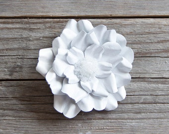White leather flower brooch, statement brooch, cocktail pin, leather jewelry, gift for her, leather flower, Rose brooch