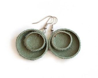 Olive green khaki leather circle Earrings SALE