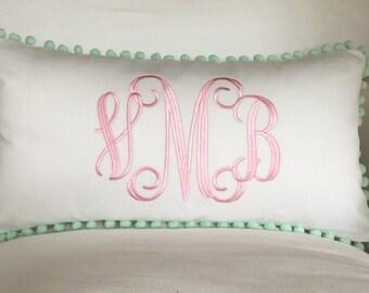Monogrammed Pom Pom Pillow Cover