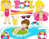SALE Girls Pool Party Cute Clipart, Pool Party Clip Art, Summer Party, Swimming Pool Graphics, Swimming Girls, Splash, Summer Swimming Clipa