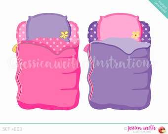 Instant Download, Girls Sleeping Bag Cute Digital Clipart, Cute Sleepover Clip art, Slumber Party Graphics, Sleeping Bag Illustration, #803