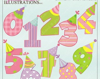 SALE Birthday Girl Numbers Cute Digital Clipart for Card Design, Scrapbooking, and Web Design